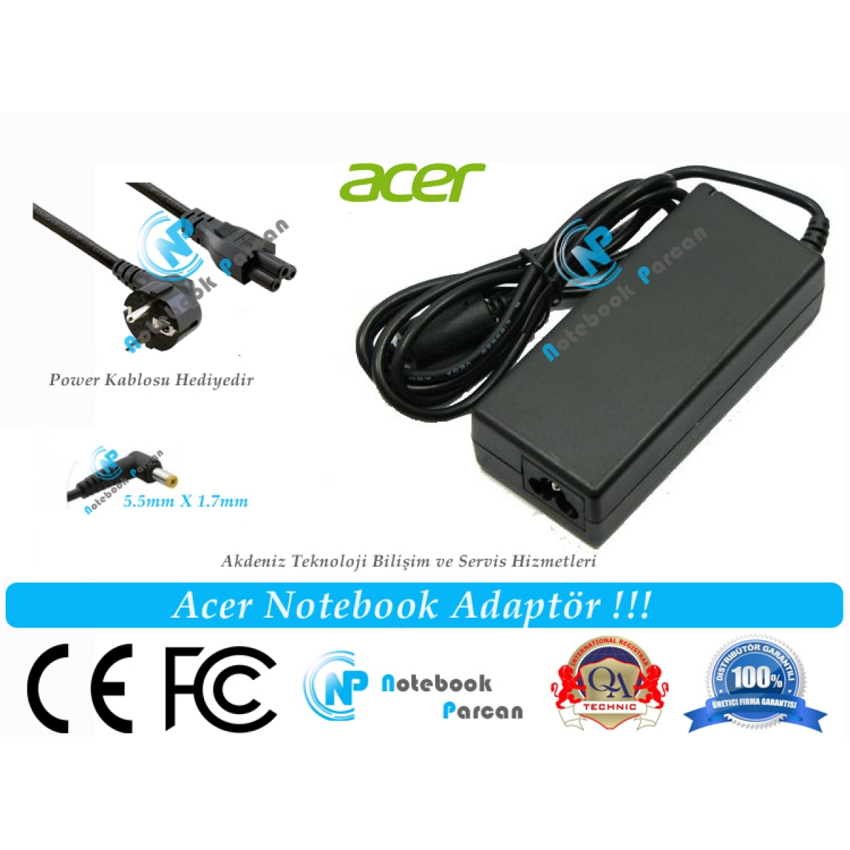 Acer 19V 3.42A Notebook Adaptörü Laptop Şarjı